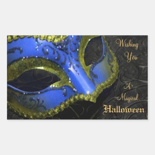 Dark Blue Masquerade Mask Halloween Party Stickers