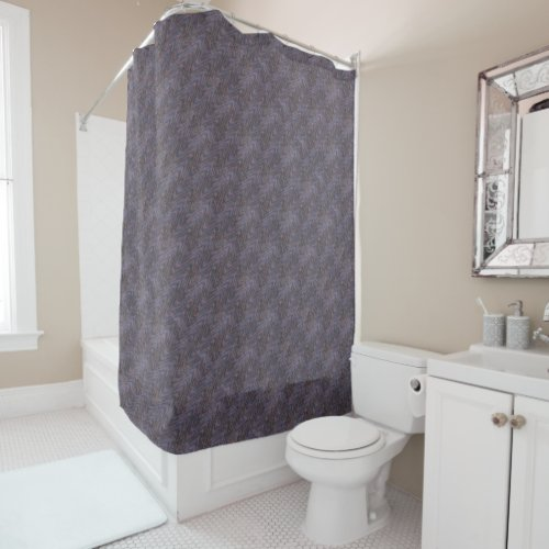 Dark Blue Mauve Lavender Orange Waves Shower Curtain