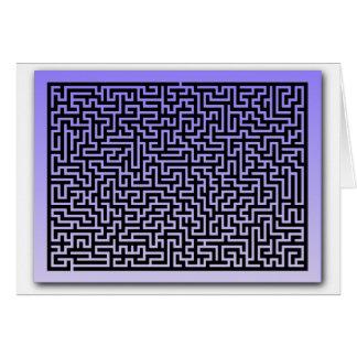 Dark Blue Maze Greeting Card