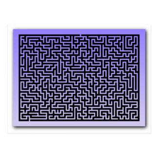 Dark Blue Maze Post Cards