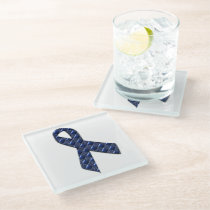 Dark Blue Metallic Glass Coaster