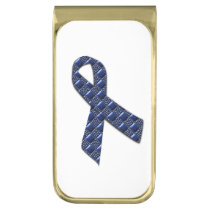 Dark Blue Metallic Gold Finish Money Clip