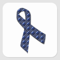 Dark Blue Metallic Square Sticker