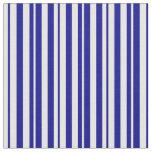 [ Thumbnail: Dark Blue & Mint Cream Colored Lines Fabric ]