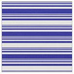 [ Thumbnail: Dark Blue & Mint Cream Lines Fabric ]