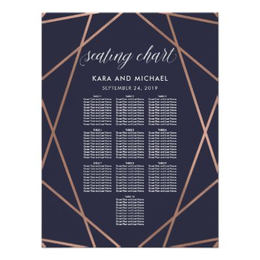 Art Themed Dark Blue Modern Diamond Wedding Seating Chart