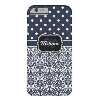 Dark Blue Monogrammed Damask Polka Dots Pattern iPhone 6 Case