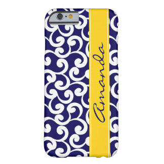 Dark Blue Monogrammed Elements Print Barely There iPhone 6 Case