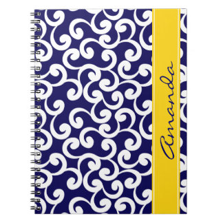 Dark Blue Monogrammed Elements Print Notebook