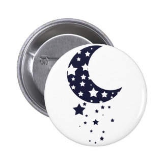 Dark blue moon and stars silhouette magical sky pinback button