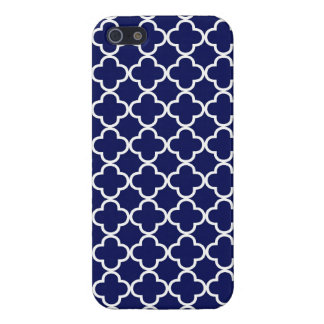 Dark Blue Moroccan Quatrefoil Cover For iPhone SE/5/5s