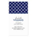 Dark Blue Morrocan Quatrefoil Pattern Business Card