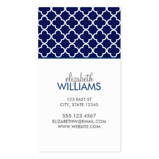 Dark Blue Morrocan Quatrefoil Pattern Double-Sided Standard Business Cards (Pack Of 100)
