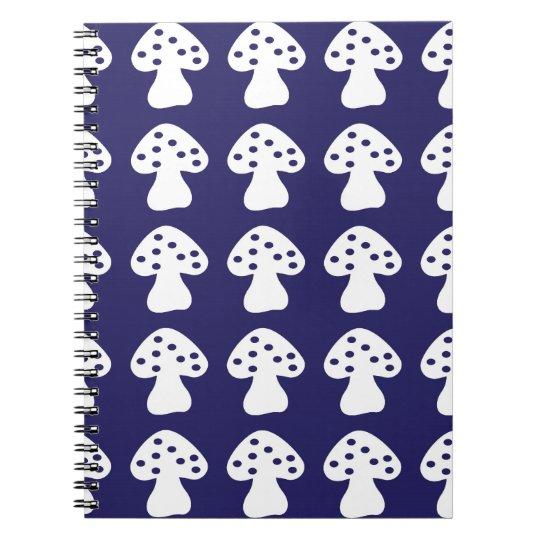 Dark blue mushroom spiral notebook
