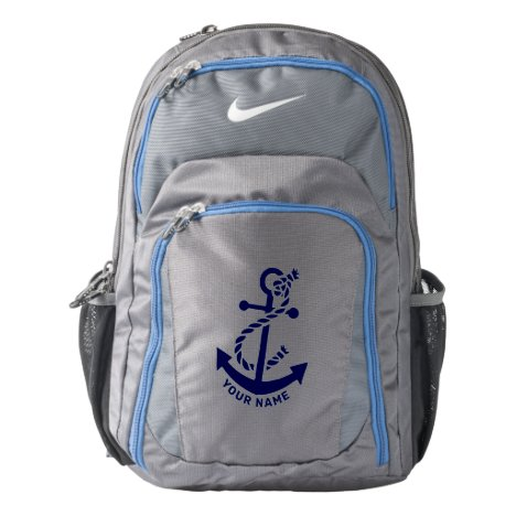 Dark-blue nautical boat anchor Monogram Backpack