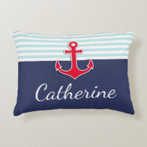 Dark Blue Nautical Design Personalized Decorative Pillow
