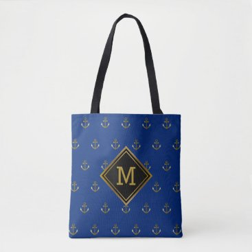 Beach Themed Dark Blue Nautical Navy Gold Anchors Monogram Tote Bag