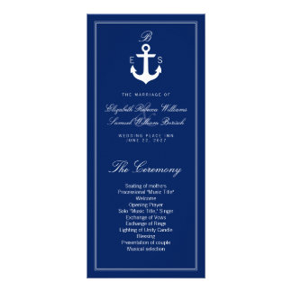 Dark Blue Nautical Wedding Program Rack Cards