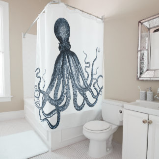 Dark Blue Octopus Shower Curtain