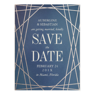 Dark Blue Opaline Gemstone Wedding Save the Date Postcard