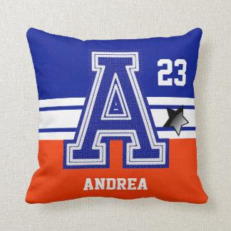 Dark Blue & Orange All Varsity Sport Letters Throw Pillow