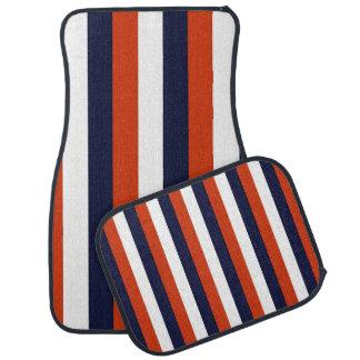 Dark Blue, Orange White Stripes Car Mats Floor Mat