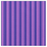 [ Thumbnail: Dark Blue & Orchid Lined Pattern Fabric ]