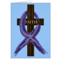 "Dark Blue ""Painted"" Colon Cancer Ribbon Card"