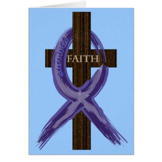"Dark Blue ""Painted"" Colon Cancer Ribbon Card"