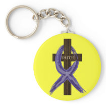 "Dark Blue ""Painted"" Colon Cancer Ribbon Keychain"