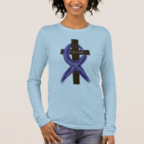 "Dark Blue ""Painted"" Colon Cancer Ribbon Long Sleeve T-Shirt"