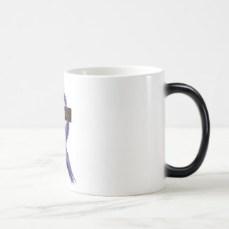 "Dark Blue ""Painted"" Colon Cancer Ribbon Magic Mug"