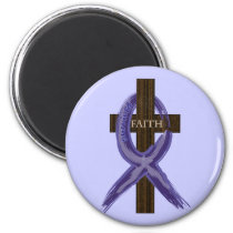 "Dark Blue ""Painted"" Colon Cancer Ribbon Magnet"