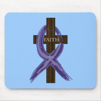 "Dark Blue ""Painted"" Colon Cancer Ribbon Mouse Pad"