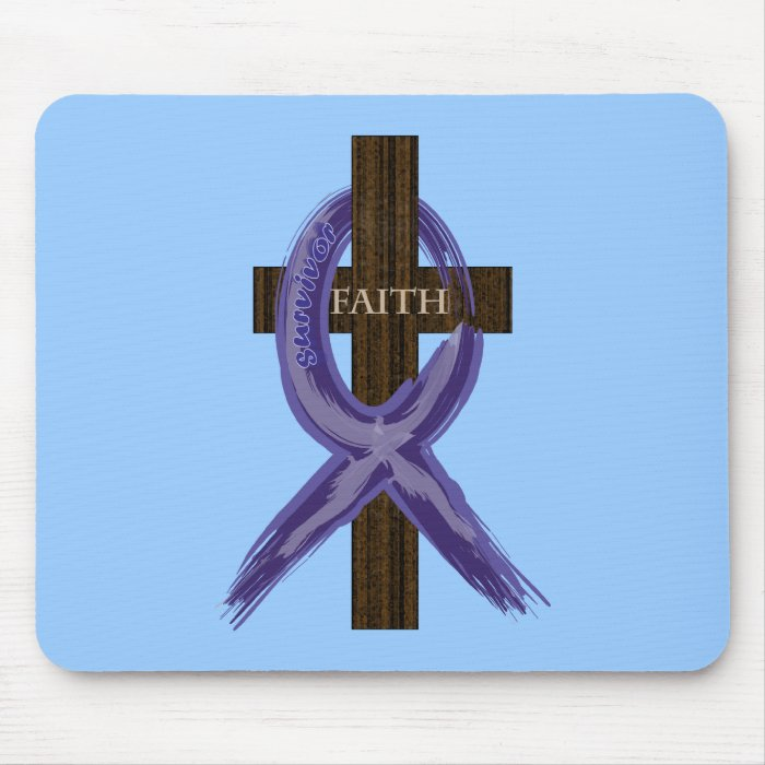 """Dark Blue """"Painted"""" Colon Cancer Ribbon Mouse Pad"""