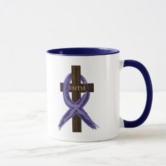 "Dark Blue ""Painted"" Colon Cancer Ribbon Mug"