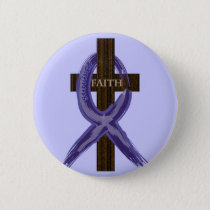 "Dark Blue ""Painted"" Colon Cancer Ribbon Pinback Button"