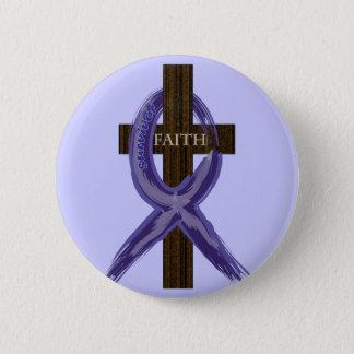 "Dark Blue ""Painted"" Colon Cancer Ribbon Pinback Button"