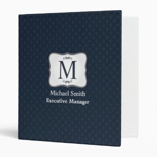 Dark Blue Pattern – Classy Men's Monogram 3 Ring Binder