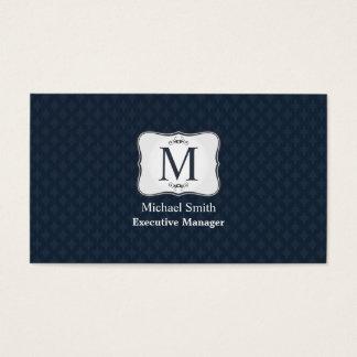 Dark Blue Pattern – Classy Men's Monogram Business Card