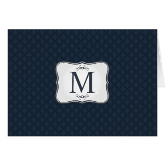 Dark Blue Pattern – Classy Men's Monogram Card
