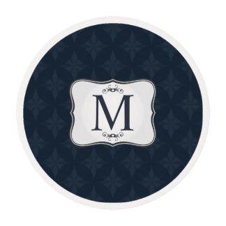 Dark Blue Pattern – Classy Men's Monogram Edible Frosting Rounds