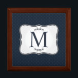 """Dark Blue Pattern – Classy Men's Monogram Jewelry Box<br><div class=""""desc"""">A personalized monogram (especially one as classy as this!) makes a wonderful addition to your home d&#233;cor, personal style and especially as a gift to someone you care about. Even small, affordable items, have the potential to become cherished keepsakes when personalized with a unique custom design and monogram. Why spend...</div>"""