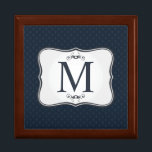 "Dark Blue Pattern – Classy Men's Monogram Jewelry Box<br><div class=""desc"">A personalized monogram (especially one as classy as this!) makes a wonderful addition to your home d&#233;cor, personal style and especially as a gift to someone you care about. Even small, affordable items, have the potential to become cherished keepsakes when personalized with a unique custom design and monogram. Why spend...</div>"