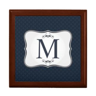Dark Blue Pattern – Classy Men's Monogram Jewelry Box