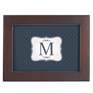 Dark Blue Pattern – Classy Men's Monogram Keepsake Box