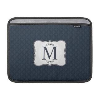 Dark Blue Pattern – Classy Men's Monogram MacBook Sleeve
