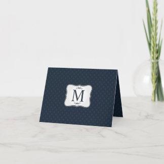 Dark Blue Pattern – Classy Men's Monogram Note Card