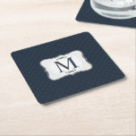 """Dark Blue Pattern – Classy Men's Monogram Square Paper Coaster<br><div class=""""desc"""">A personalized monogram (especially one as classy as this!) makes a wonderful addition to your home d&#233;cor, personal style and especially as a gift to someone you care about. Even small, affordable items, have the potential to become cherished keepsakes when personalized with a unique custom design and monogram. Why spend...</div>"""