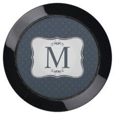 Dark Blue Pattern – Classy Men's Monogram Usb Charging Station at Zazzle